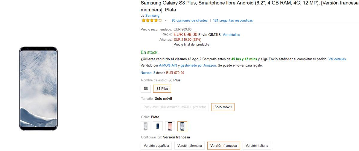 Oferta del Samsung Galaxy S8 Plus en Amazon