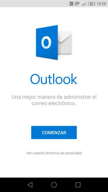 Asistente Outlook Android