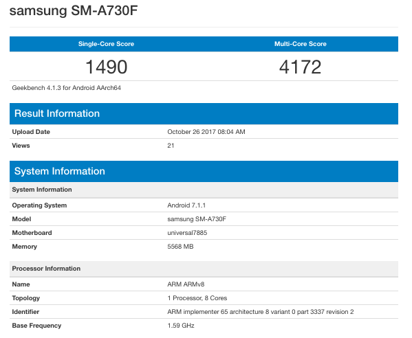 geekbench samsung galaxy a7 2018