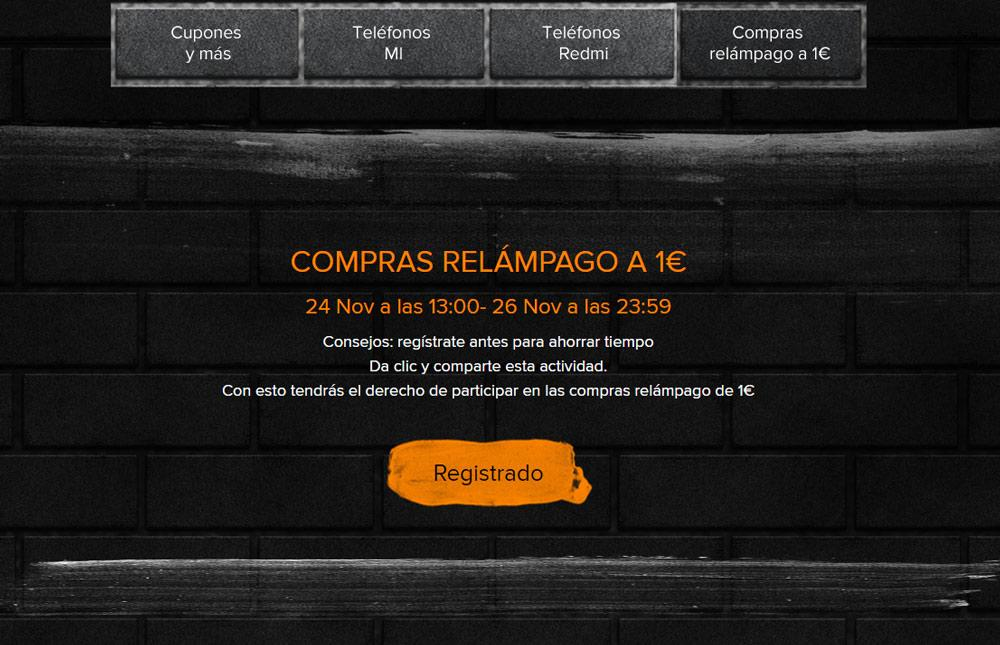 Registro en el Black Friday de Xiaomi
