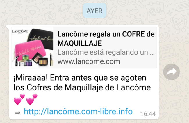 Lancôme estafa whatsapp