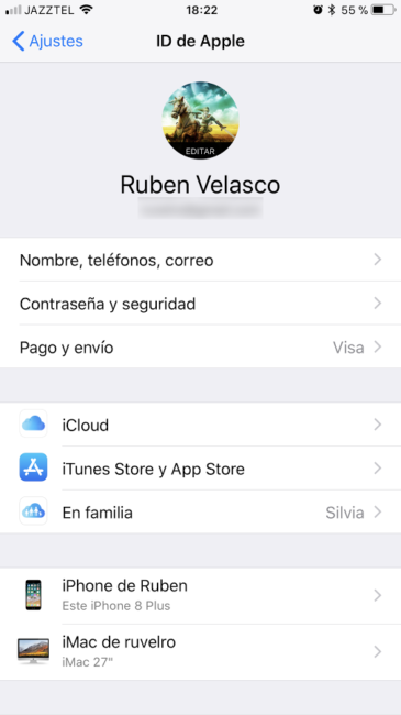 Ajustes de ID de Apple iOS 11