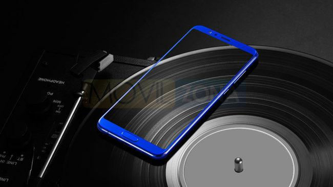Honor View 10 azul sobre disco de música