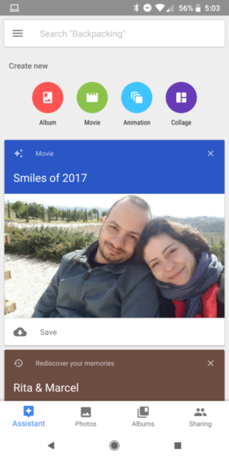 Notificación de función Smiles of 2017 en Google Fotos