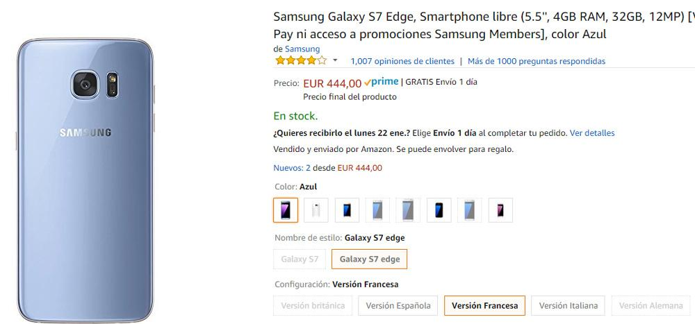 Oferta del Samsung Galaxy S7 Edge color azul en Amazon