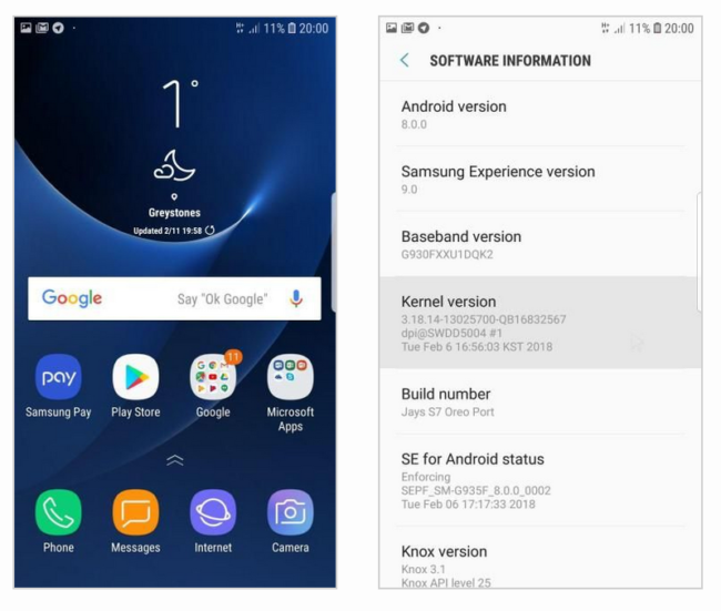 Android Oreo Galaxt yS7 Edge