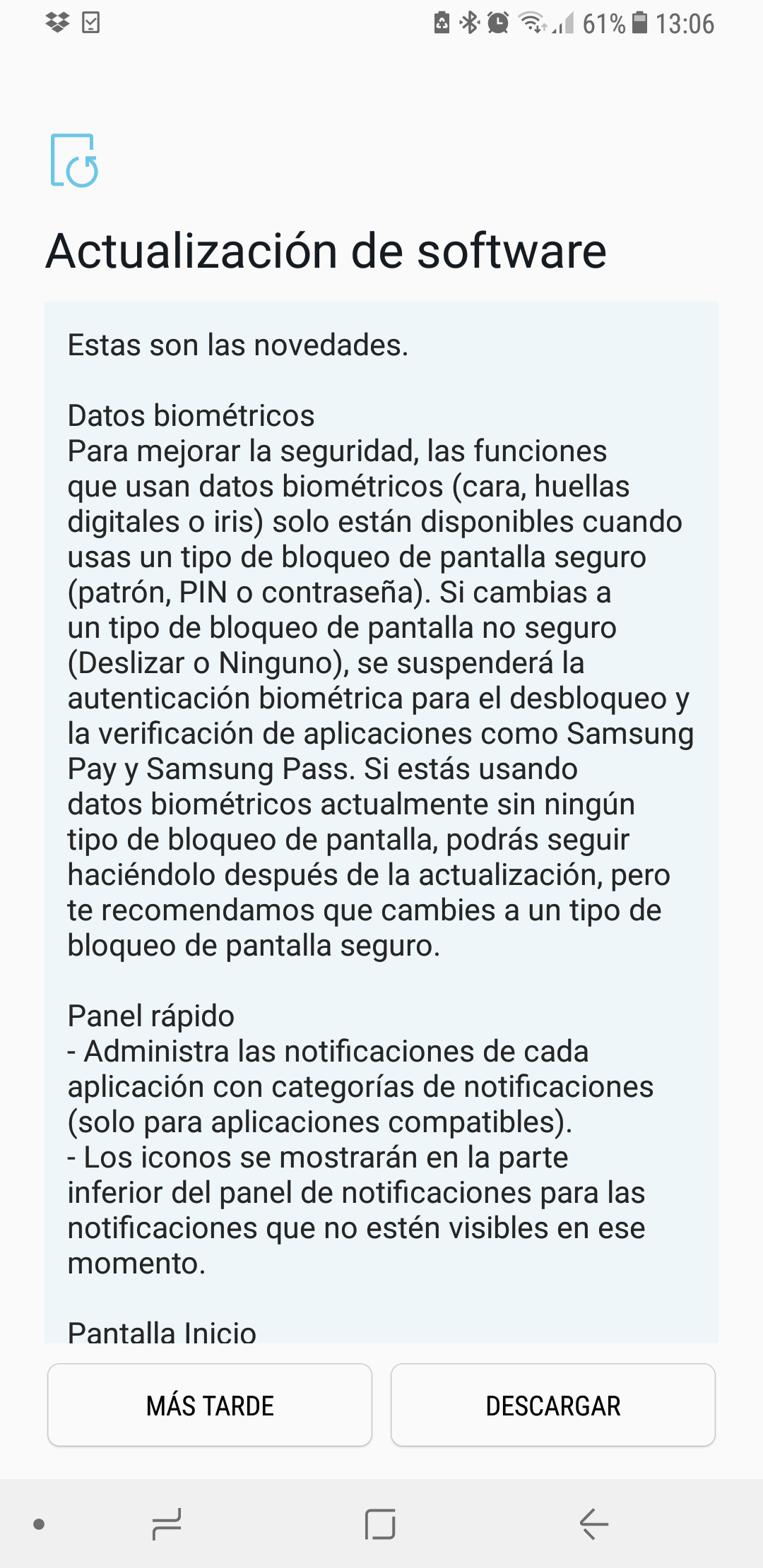 Galaxy S8 Android 8 Oreo
