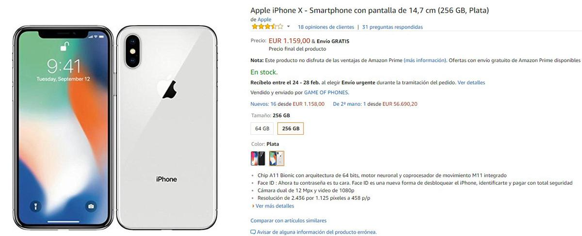 Precio del iPhone X de 256 GB en Amazon
