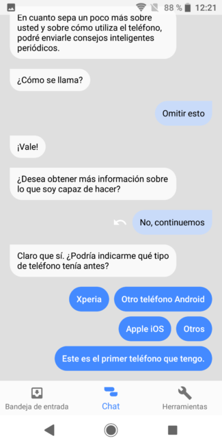 Chat en Xperia Assist en el Sony Xperia XZ2