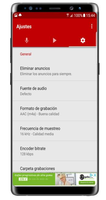 Ajustes Voice Recorder Pro - High Quality