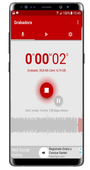 Grabando con Voice Recorder Pro - High Quality