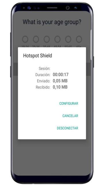 Resumen de datos en Hotspot Shield VPN