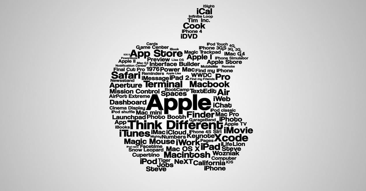 Logotipo de Apple formado por letras