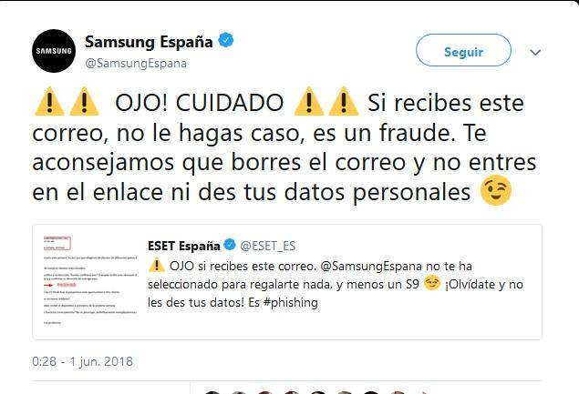 Samsung Galaxy S9 de regalo - estafa
