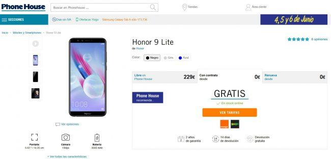 moviles gratis-junio-Honor 9 Lite