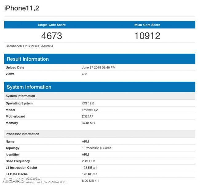 geekbench iphone x 2018