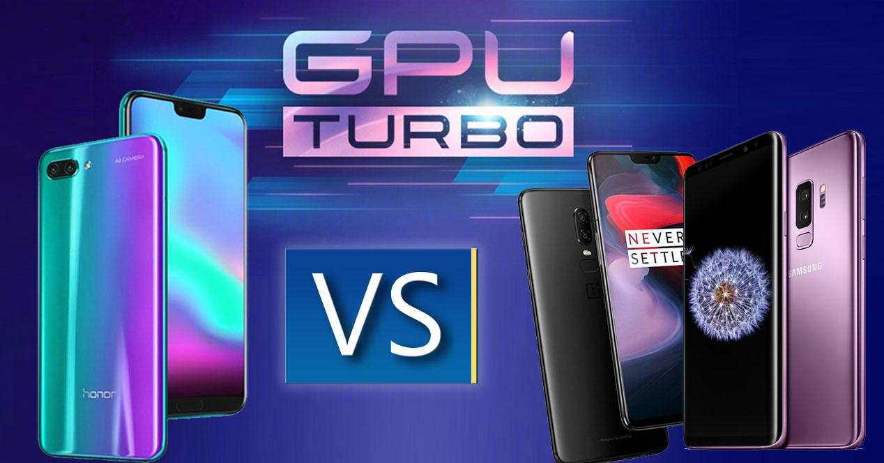 logo gpu turbo con honor 10, oneplus 6 y samsung galaxy s9