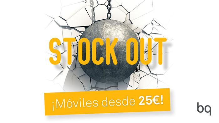 cartel bq oferta moviles stockout bola de demolicion