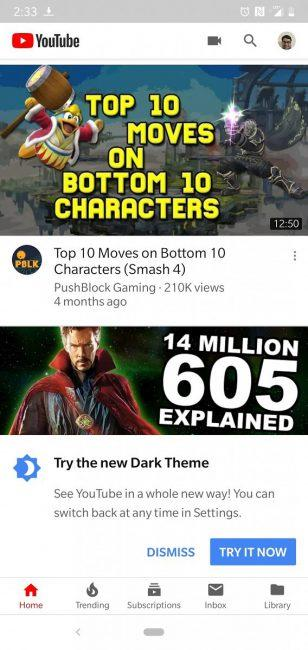 Youtube en Android aviso de dark mode