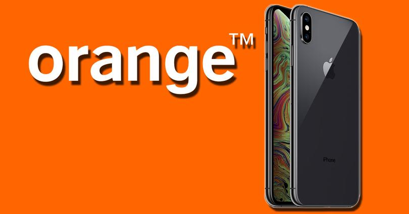 Logotipo de Orange con iPhone de Apple