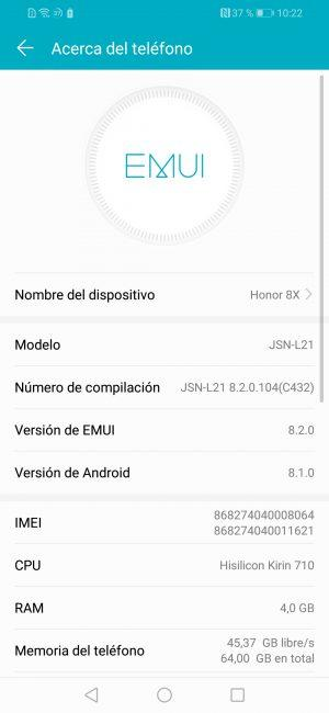 Datos sisteme del Honor 8X