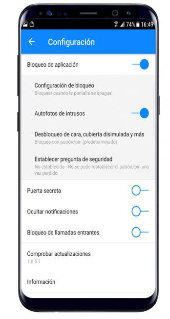 Opciones en Privacy Knight