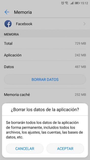 pantalla borrar datos android