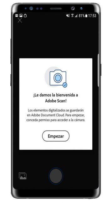 permisos Adobe Scan: digitalizador de PDF