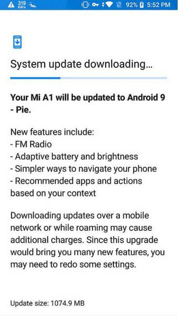 Android 9 para el Xiaomi Mi A1