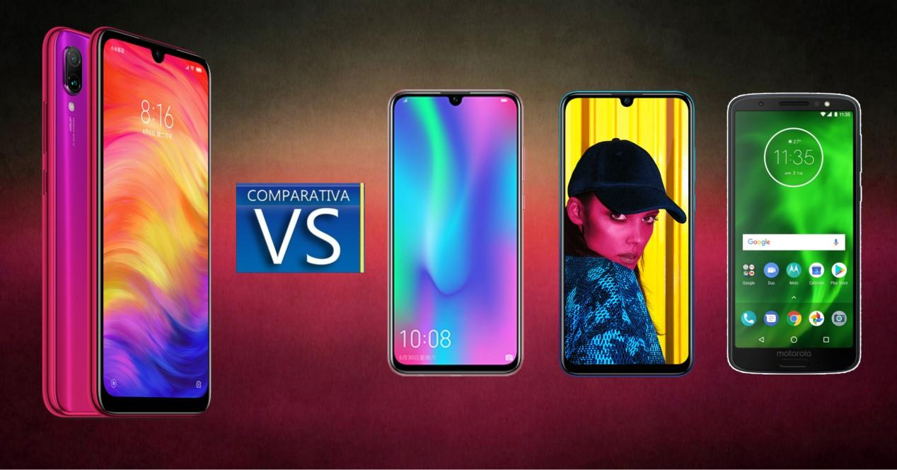 comparativa redmi note 7, huawei p smart 2019, honor 10 lite y moto g6