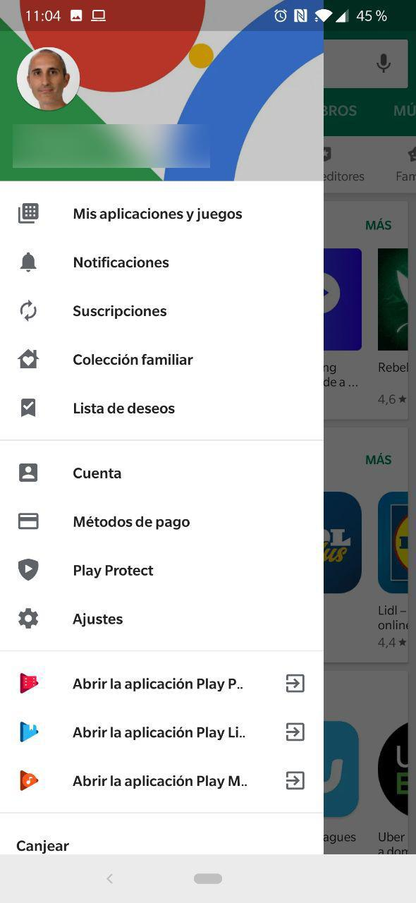 Menú lateral del Play Store