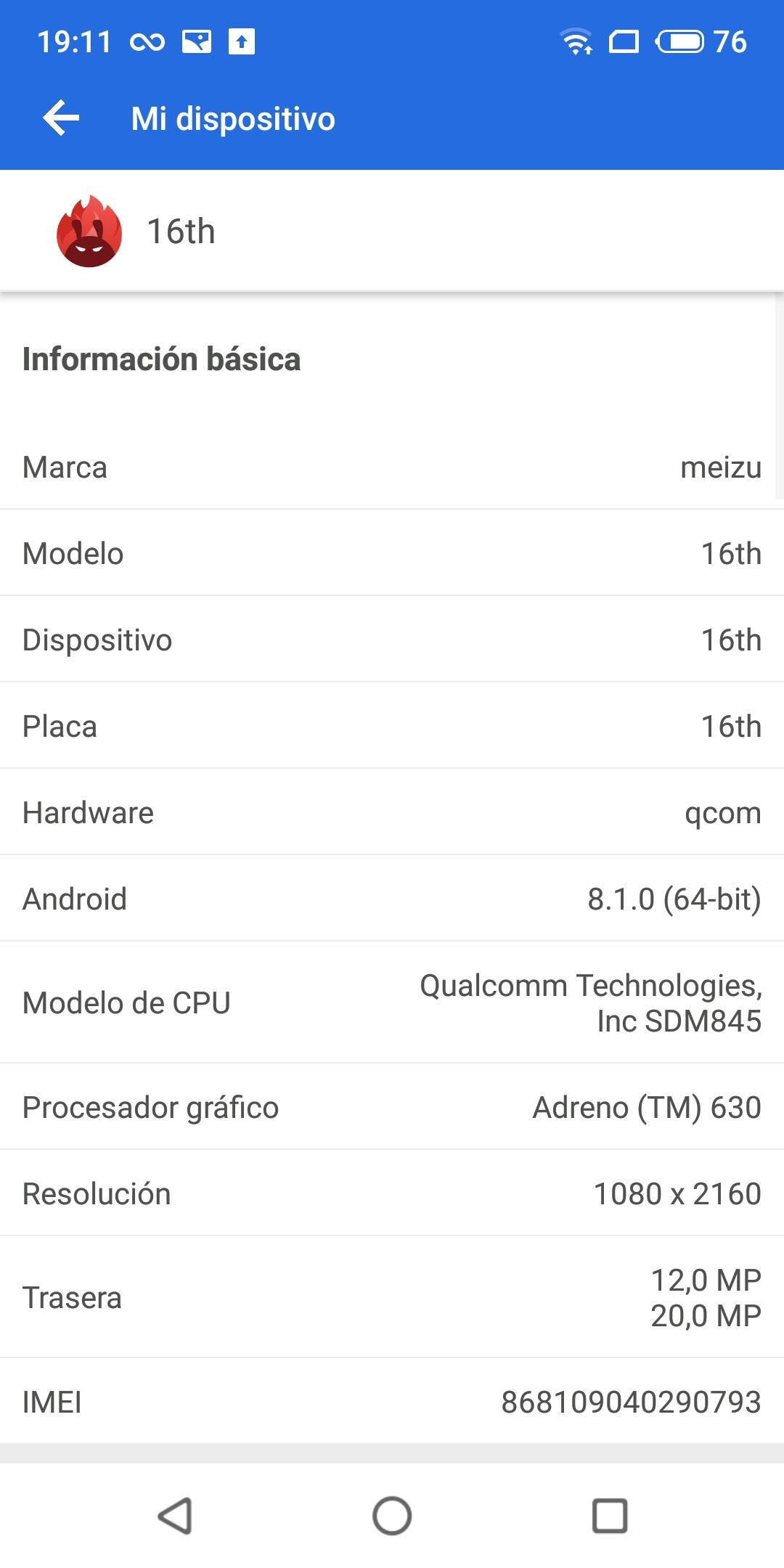 Datos AnTuTu Meizu 16th