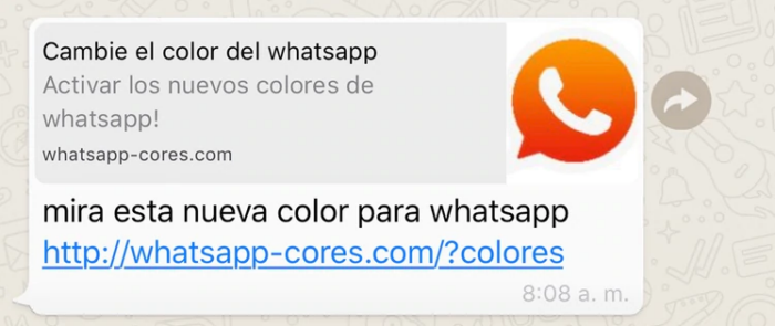 WhatsApp link con virus