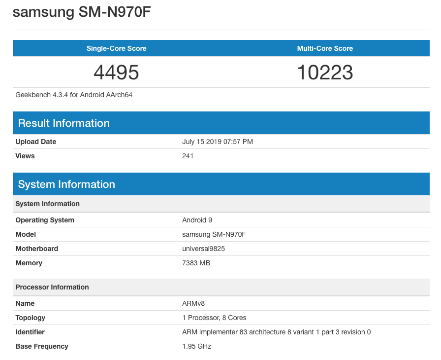 note 10 geekbench