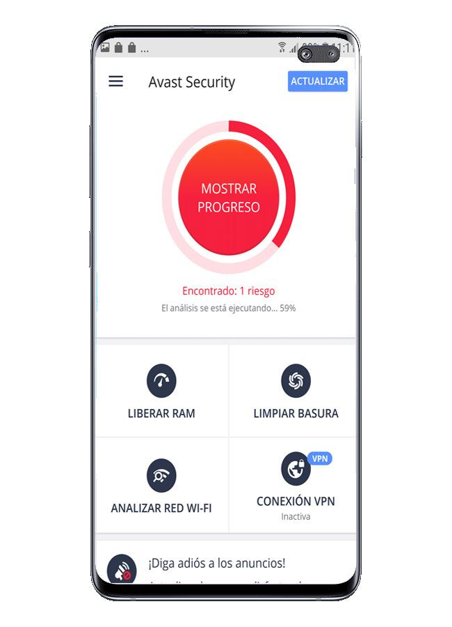 Escaneo con detección de seguridad conAvast Free Mobile Security