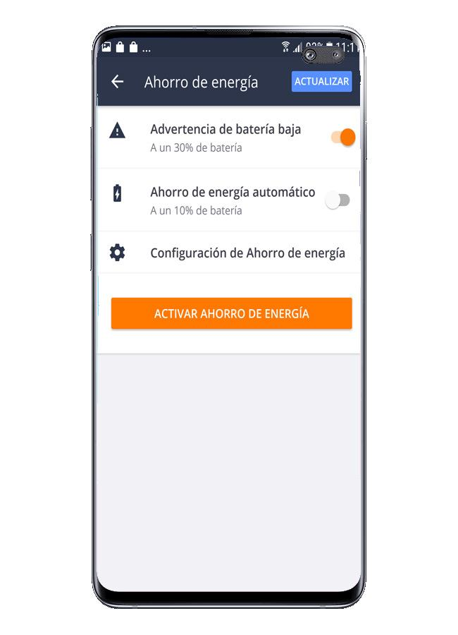 Opciones de uso en Avast Free Mobile Security