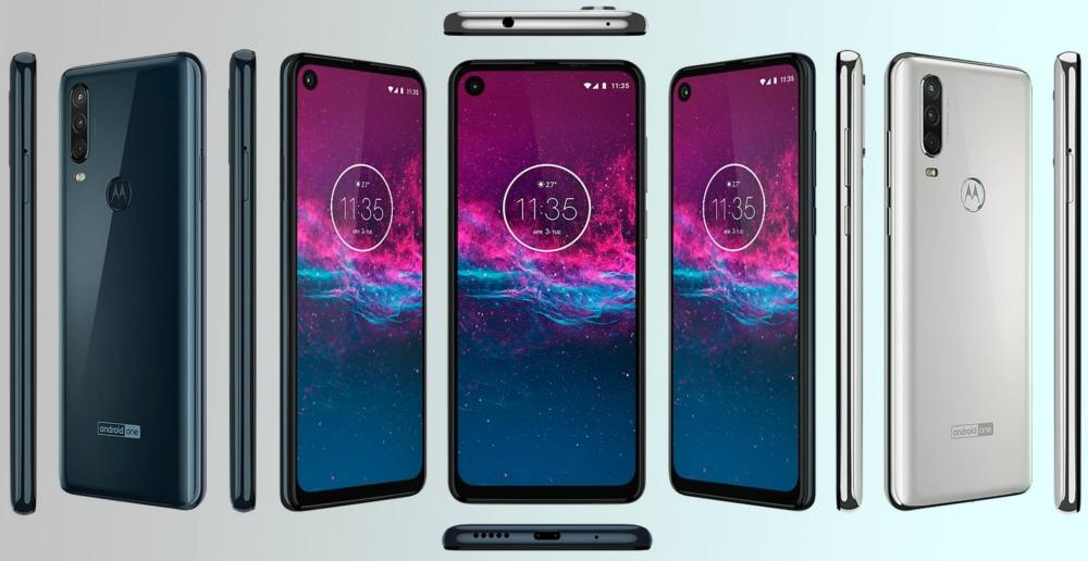 Motorola One Action blanco y azul