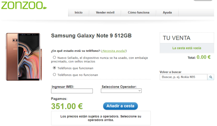 Galaxy Note 9 venta en Zonzoo