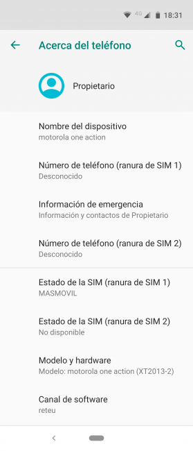 Sistema Motorola One Action