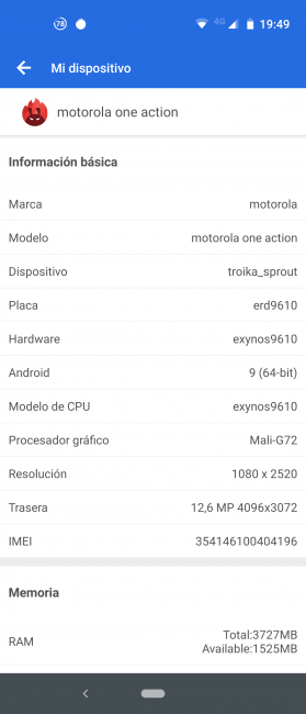 Datos antutu Motorola One Action