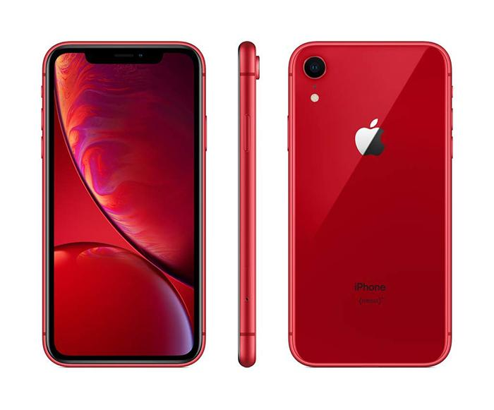Vista del frontal, trasera y lateral del iPhone XR en rojo