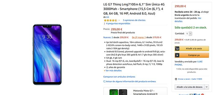 Super precio del LG G7 ThinQ en Amazon