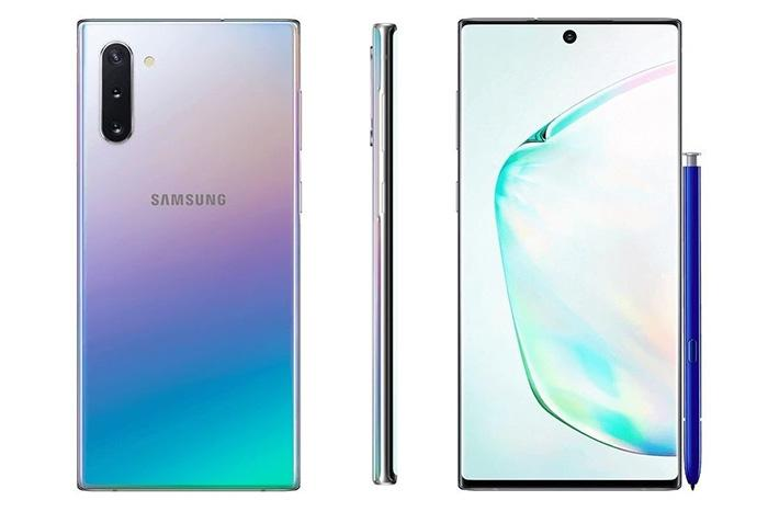 Samsung Galaxy Note 10 frontal y trasera con S-Pen