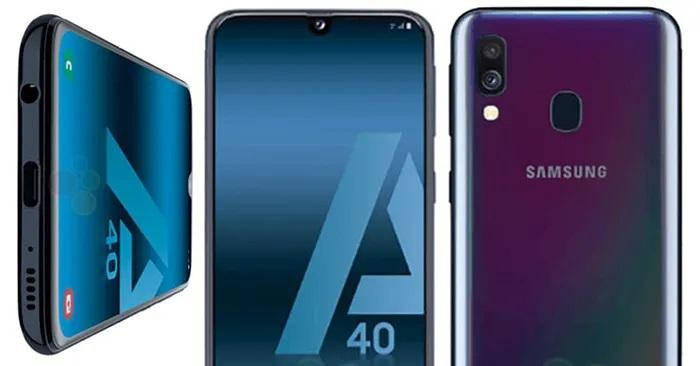 frontal trasera y parte inferior galaxy a40