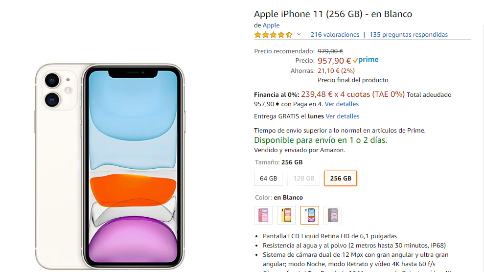 iPhone 11 en Amazon