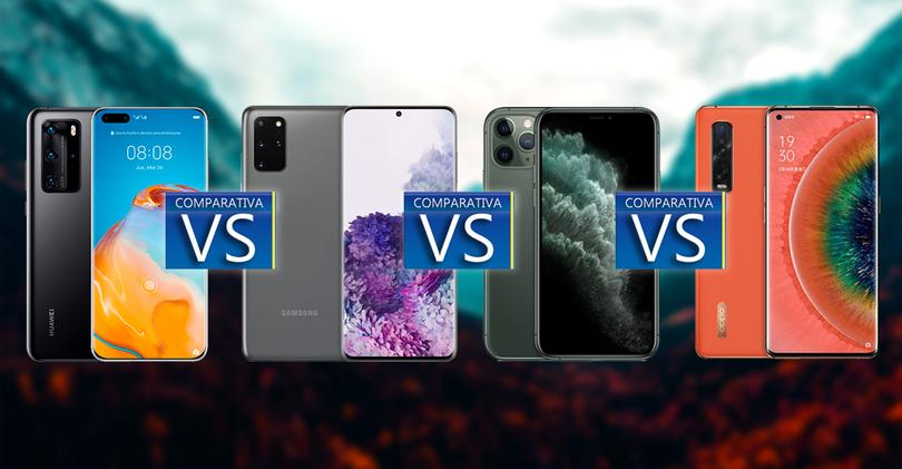comparativa huawei p40 pro galaxy s20 pro iphone 11 pro oppo find x2 pro