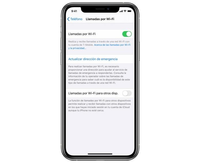 iPhone llamadas por WiFi