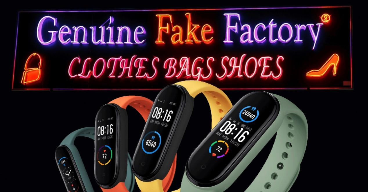 pulsera mi band 5 y cartel fake