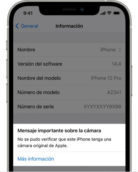 iphone 12 aviso camaras no origiales