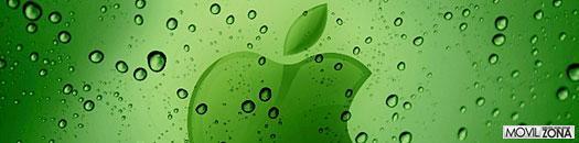 logotipo de apple sobre fondo verde